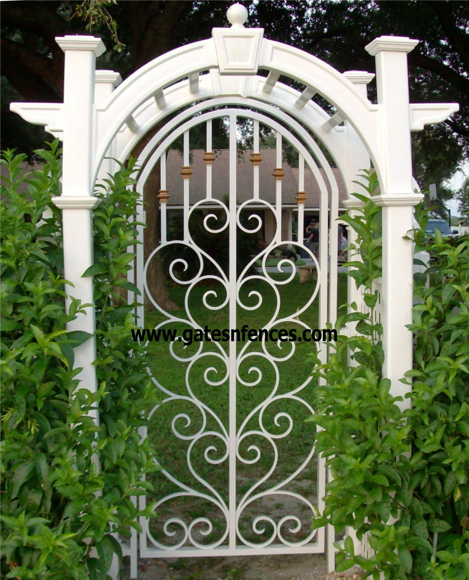 Garden gates walk thru gates wrought iron or aluminum for Garden door designs