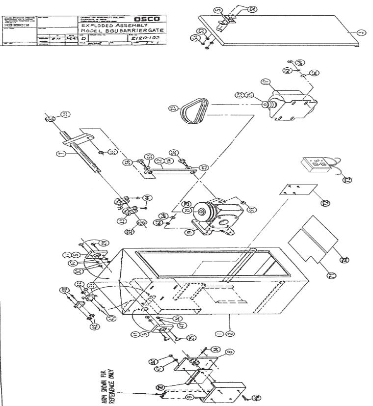 OSCO BGU mechanical parts exploded view 760x827 osco bgu openers osco parking arm gate barrier repair parts osco gate operators wiring diagram at gsmx.co