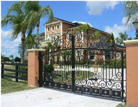 This Estate Custom Driveway Gate is made of Aluminum, painted with powder coat oven baked with Gold Accent